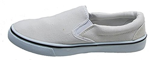 Goldwater Men's Casual Slip-On Canvas Low Top Sneakers Skate Shoes (10.5, White) - Mens Canvas Low Skate Shoe