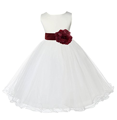 Satin Ivory Flower Girl Dresses - Wedding Pageant Ivory Flower Girl Rattail