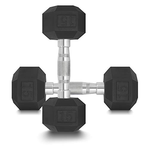 DPFIT 15lb Dumbbells Set of 2, Rubber Hex Dumbbell Set Weighs 15 Pound Each, with Ergonomic Curved Metal Non-Slip…