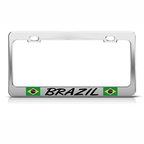 (Brazil Flag Brazilian Country Metal License Plate Frame Tag Holder)