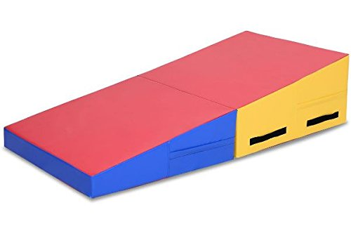 K&A Company Mat Gymnastics Folding Incline Wedge Tumbling Cheese Gym Slope Exercise Large Playmat Ramp Aerobics Fitness