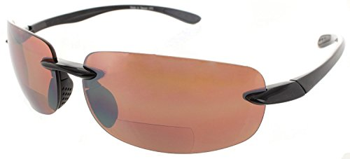 Maui Island Life Bifocal Sunglasses Rimless Wrap Sun Readers Lightweight TR90 Frame for Men and Women - Available in Polarized or Non Polarized - 90 Tr