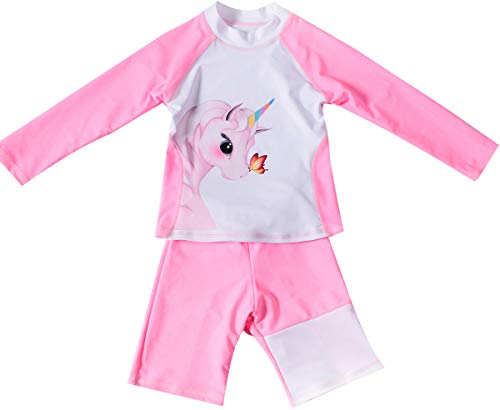 (Girls Two Pieces Swimsuit Set Long Sleeve Rash Guard UPF 50+ Bathing Suit Tankini Swimsuit Swimwear (Pink-White, Tag 116 (Height 40.16-43.31