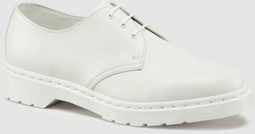 Dr. Martens Women's 1461 Mono 3 Eye Shoe, White, 5 M US (Dr Martens 1461 Leather Lace Up Flat Shoe)