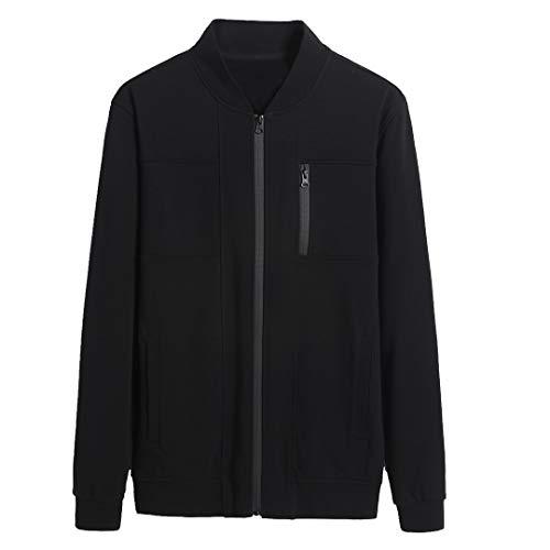 Aoli Ray Men's Casual Full Zip Jacket Sport Sweatshirt Stand Collar Coat Outwear LightweightBlack (Black, L)