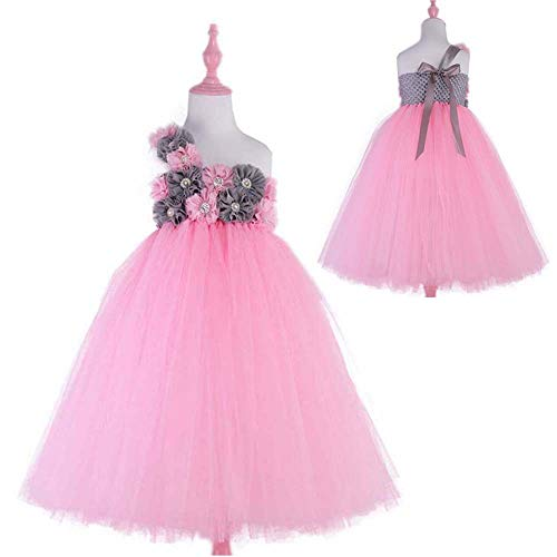 Pink Grey Flower Girls Wedding Dress Princess Evening Party Dresses Tulle Tutu Dress by Girl Tutu Dress