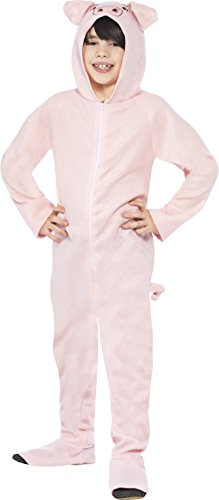 Smiffy's Children's Unisex All In One Pig Costume, Jumpsuit with Tail and Ears, Party Animals, Ages 10-12, Size: Large, Color: Pink, 27992 (Halloween Costumes 2017 Uk)