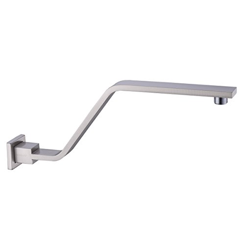 HANEBATH Brass S Style 15 Inch Shower Arm with Flange, Brushed Nickel