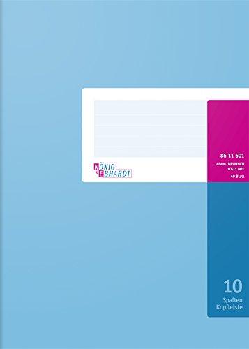 König & Ebhardt 8611601 Geschäftsbuch / Spaltenbuch (A4, mit Kopfleiste 10 Spalten, 32 Zeilen, 80g/m², 40 Blatt Drahtheftung)