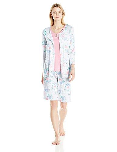 Carole Hochman Women's Cotton Jersey 3 Piece Bermuda Pajama Set, Joey Floral, M (Cardigan Hochman Carole)