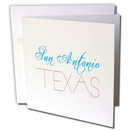 3dRose Alexis Design - American Cities - San Antonio, Texas Patriotic, Decorative, Blue, red Text on White - 12 Greeting Cards with envelopes (gc_294802_2)