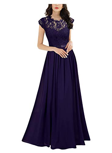 Miusol Women's Formal Floral Lace Evening Party Maxi Dress (Medium, Dark Purple)