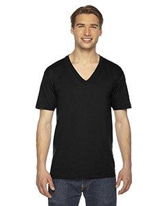 American Apparel 2456W Unisex Fine Jersey Short-Sleeve V-Neck T-Shirt Black M