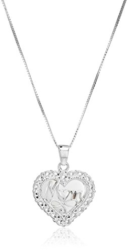 "Sterling Silver ""A Mother's Love"" Reversible Heart Pendant Necklace, 18"""
