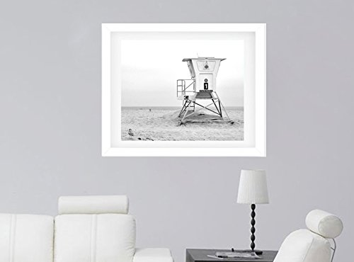 Lifeguard Tower Print, Black and White Photography, California Beach Wall Art, Large Artwork, Nautical Wall Picture, Light Grey Wall Art, Coastal Wall Decor