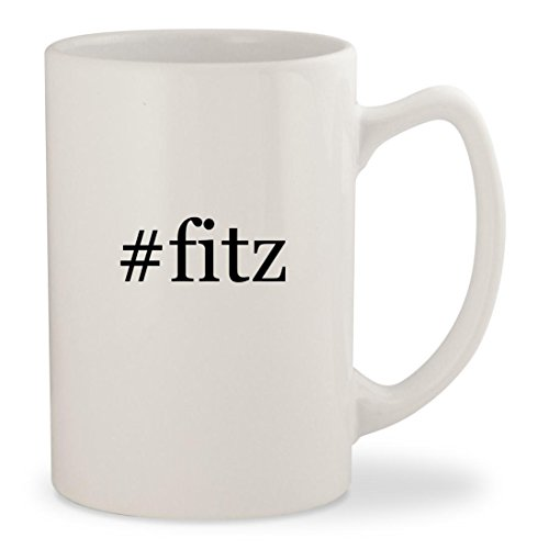 #fitz - White Hashtag 14oz Ceramic Statesman Coffee Mug Cup