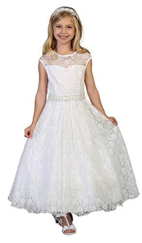 f6b763811 Lace Peek-A-Boo Bodice Communion Flower Girl Pageant Dress 2-20 ...