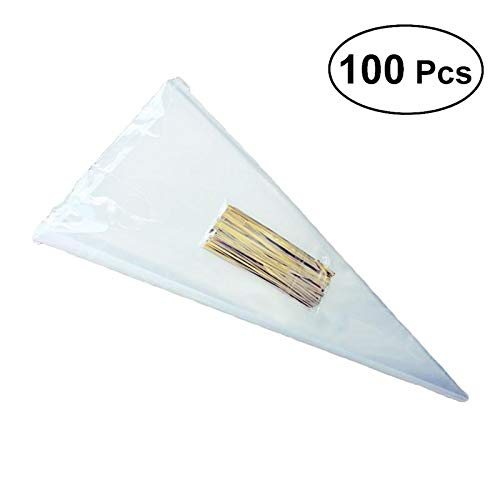 100PCS Transparent Cone Bags Clear Cello Gift Bags Sweets Treat Bags with Gold Twist Ties Pouches Decoration (13 x -