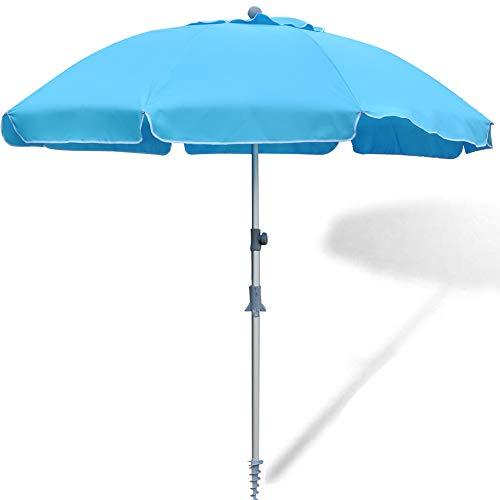 SNAIL Beach Umbrella, 7 ft Sand Anchor with Tilt Aluminum Pole, Portable Sun ray Protection Beach Umbrella with Carry Bag for Outdoor Patio, Blue