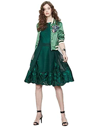 Outerwear Donna Vintage Verde Cute Hipster Libero Chic Autunno Manica Giacca Elegante Classiche Bomber Ricamo Cappotto Fit Giacche Fashion Primaverile Con Lunga Slim Tempo Cerniera vWvqxrTwgO