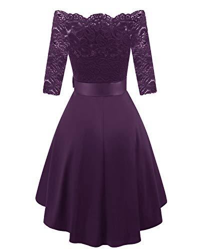 9211c13440 Bright Deer Women Lace Scallop Bardot Dip Hem Vintage Pinup Elegant Dress   Amazon.co.uk  Clothing