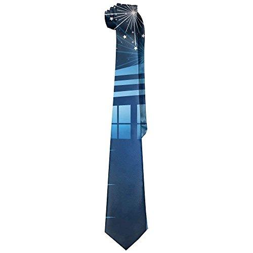 Tardis In The Night With Fireflies Gentleman Cool Fashion Tie Classic Stripe Men's Necktie -