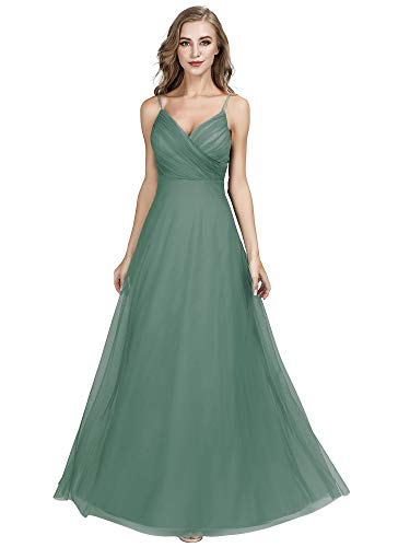 Ever-Pretty Adjustable Spaghetti Straps Long Green Chiffon Bridesmaid Dress with Ruched Bodice 6US Green