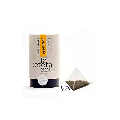 LA TETERA AZUL Infusion De Menta Premium, Pura, Limpia, Solo Hojas De Menta Infusion Digestiva Y Alivio Gases Bote De 20 Piramides