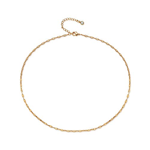 Gold Plain Chain Choker Necklace,Dainty Handmade Boho 14K Gold Plated Dainty Cute Tiny Link Thin Chain Clavicle Necklace Delicate Fashion Minimalist Choker Necklace Jewelry for Women ()