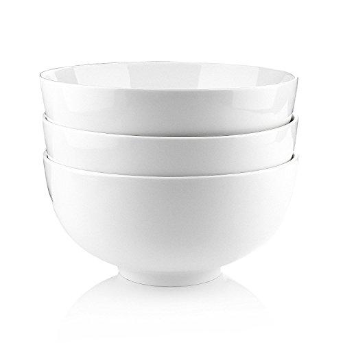 China Salad Bowl (Malacasa 3 Piece Regular Series Porcelain Ceramic, China Cereal, Soup, Rice Bowl Set, 64 oz., Ivory White)