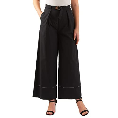 Hot eShakti Women's Belted Cotton Poplin Palazzo Pants free shipping