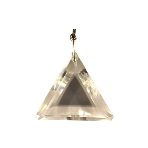 Clear Quartz Faceted Triangle Pendant - Crystal Clear Miracles Healing - Powerful Handmade Perfect Gift (Celestial Quartz Light)