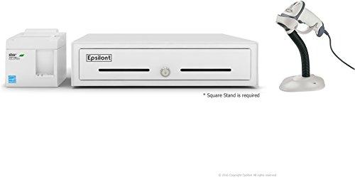 SQUARE POS HARDWARE BUNDLE – Star Micronics TSP143IIU USB Receipt Printer, Motorola LS2208 USB Scanner with Stand and Epsilont Cash Drawer (White)