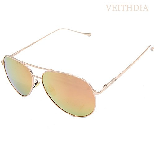 VEITHDIA 3360 Classic Golden Pink Adjustable Aviator Sunglasses for Big Face 62mm - Face Face Glasses Online A