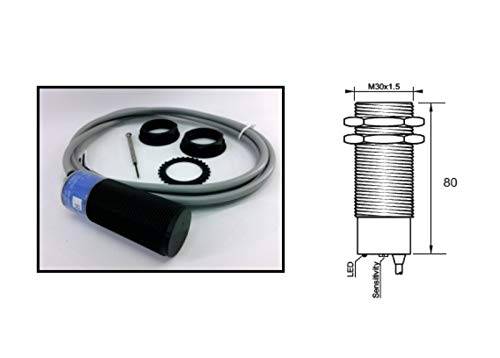 RADWELL VERIFIED SUBSTITUTE EC3025PPAPL-SUB REPLACEMENT OF CARLO GAVAZZI EC3025PPAPL, PROXIMITY SENSOR - CAPACITIVE PROXIMITY SENSOR, CYLINDRICAL, PLASTIC, UNSHIELDED CONSTRUCTION, 30MM THREADED BODY,