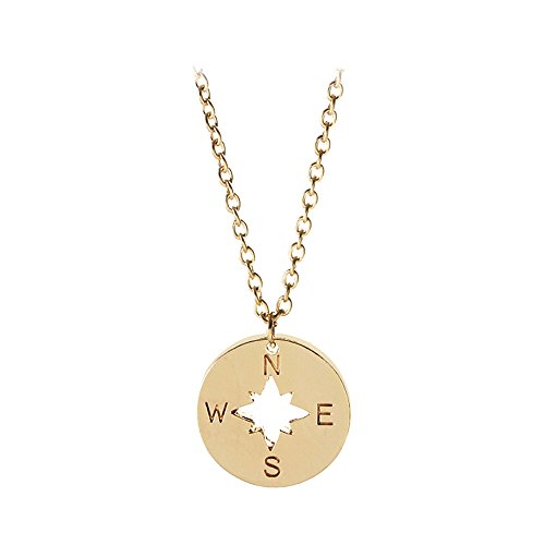 Stan-Deed Compass Necklace Minimal Disc Cut Out Charm Necklaces Nautical Sailor Jewelry (Gold) Cut Out Disc Necklace