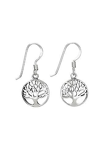 Designs by Nathan 925 Silver Framed Tree of Life Earrings, (French Earwires Handcrafted Artisan Jewelry)
