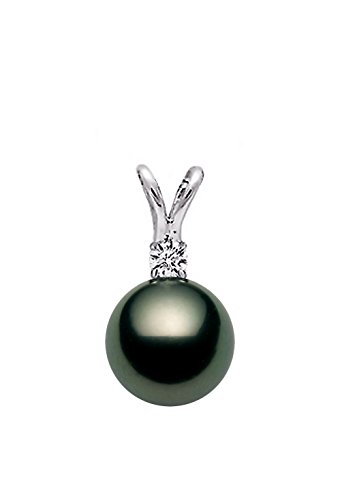 Diamond Gold Mounting (14K White Gold AAAA Quality Black Tahitian Cultured Pearl Pendant with Diamond (8-9mm))