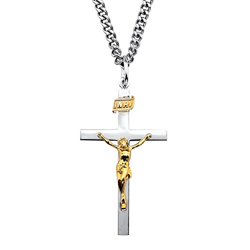 14k Gold over .925 Silver Two-Tone INRI Crucifix Pendant Necklace with Stainless Steel Chain - 14k Crucifix Silver