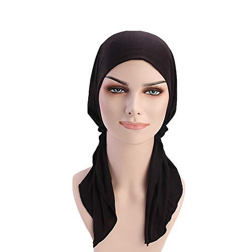 ff2c0b9965c Women Head Scarf Soft Lycra Modal Cotton Turbans Chemo Caps Tied Bandana  Head Wrap (Black)