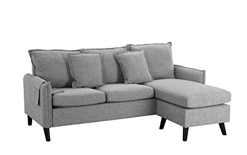Classic Living Room Linen Sectional Sofa, L-Shape Couch with Pocket Organizer (Light Grey)
