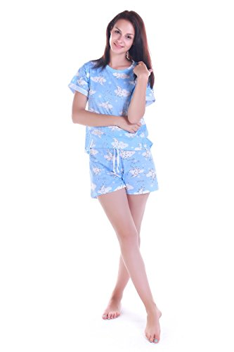 Amoy madrola Women's Sleepwear Cute Cartoon Print Tee and Shorts Pajama Set SY214 (Unique Pajamas For Women)