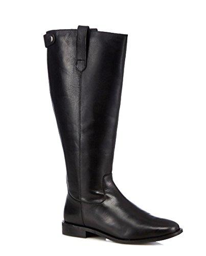 436d76e491a Faith Womens Ladies Real Leather Knee Calf Length Long High Zip Up Flat  Riding Biker Boots