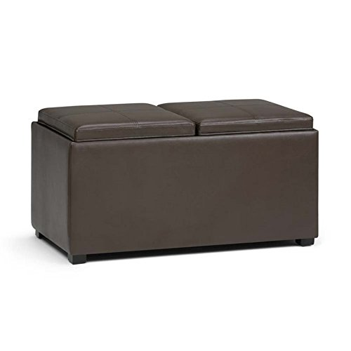 Simpli Home Avalon 5 Piece Storage Ottoman, Chocolate Brown