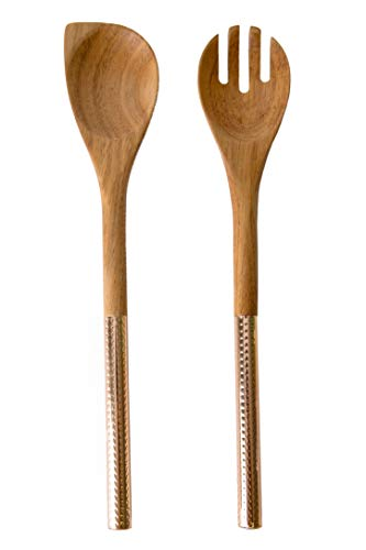 Country Kitchen 2 Piece Salad Spoon/Fork Server Set - Acacia Wooden Heads with Gold Stainless Steel Handles for Serving and Cooking
