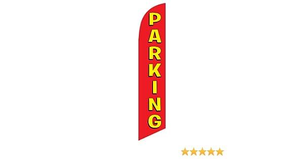 VALET PARKING Half Curve PREMIUM WIDE Swooper Flag Tips Cars Park
