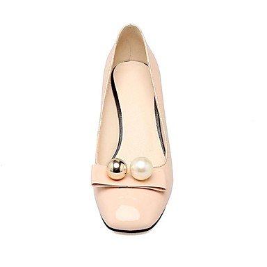 Talones de las mujeres Zapatos Primavera Verano Otoño Invierno Club de piel de vaca Comfort boda Charol Fiesta y vestido de noche Chunky HeelImitation White