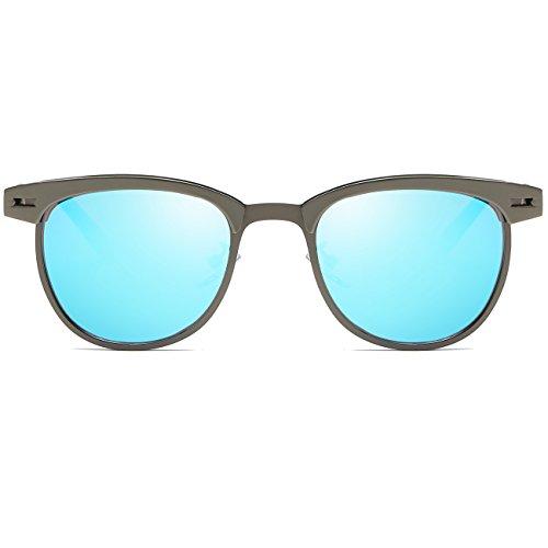 JULI Lunettes de soleil polarisées Mens Womens Vintage Clubmaster semi-Perçées Gun/Revo Blue