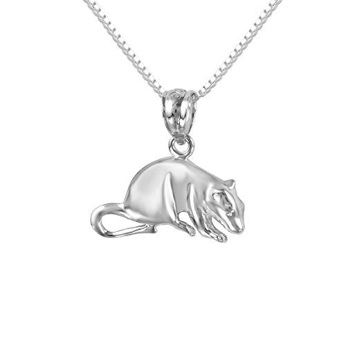 Sterling Silver Mouse Charm - Sterling Silver Mouse, Rat Charm / Pendant, Made in USA, 18