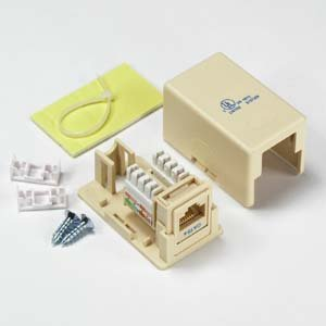 InstallerParts Cat 5E 1 Port Surface Mount Box Ivory w/Jack